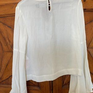 Mink Pink White Long Sleeve Flare Top Small